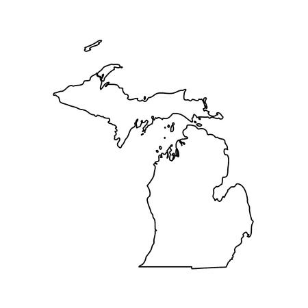Mapa del estado de los EE.UU. Michigan Ilustración de vector