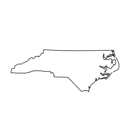 kaart van de Amerikaanse staat North Carolina Stock Illustratie