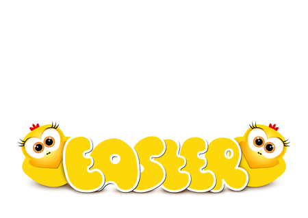 Easter card design template. Two funny yellow chickens. Happy ea Illustration