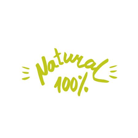 100 natural - hand drawn brush text badge, sticker, banner. Hand.