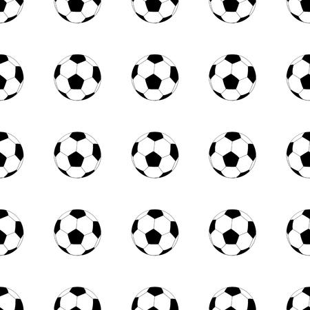 白い背景にサッカー ボールのシームレス パターン