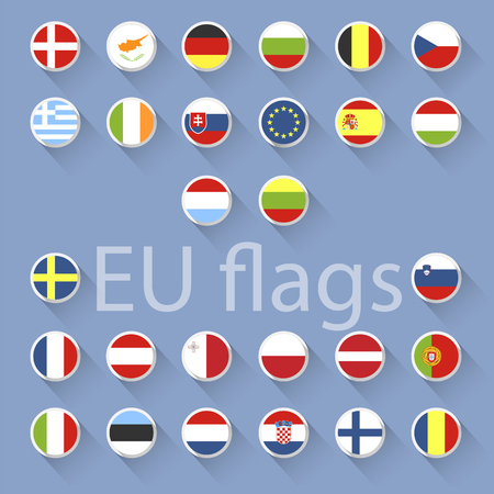 Vector set of European Union flags. Flat design