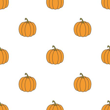 Pumpkin hand drawn on white background. Hand drawn seamless orna