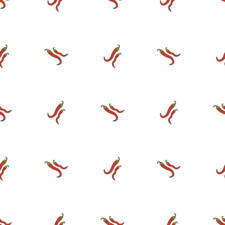cayenne: Pepper hand drawn on white background. Hand drawn seamless ornat Stock Photo