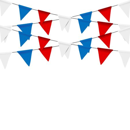Russian flag festive bunting against. Party background with flags. Illustration