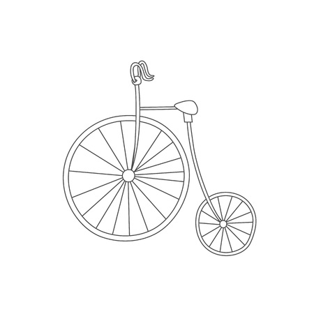 Silhouette of classic vintage bike isolated on white background. Antistress coloring book. Hand drawn elements for your designs dress, poster, card, t-shirt Illustration