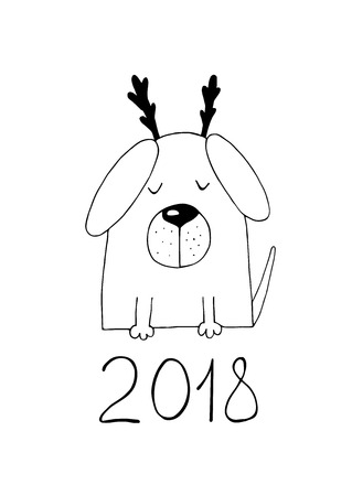 New Year 2018, dog with a horns. Illustration