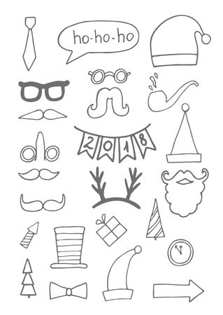 Set of black hand drawn christmas doodle icons for your designs poster, card, invitations and greeting cards