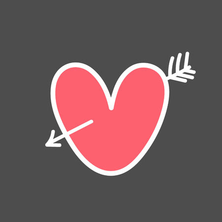 Valentine s day design element. Hand drawn element for your designs dress, poster, card, t-shirt Vettoriali