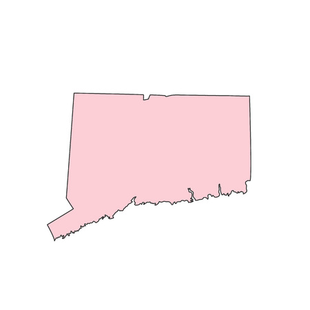 Connecticut map isolated on white background silhouette. Connecticut USA state.
