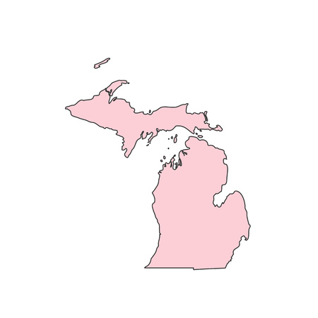 Michigan map isolated on white background silhouette. Michigan USA state. Illustration