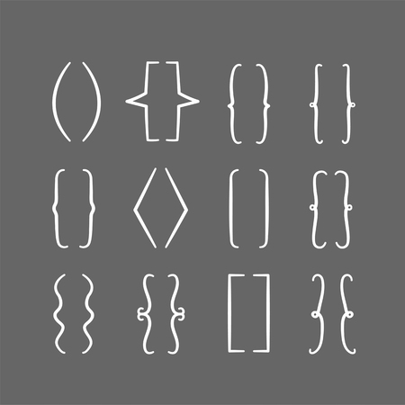 Set Of Braces Or Curly Brackets Icon Ilustraciones