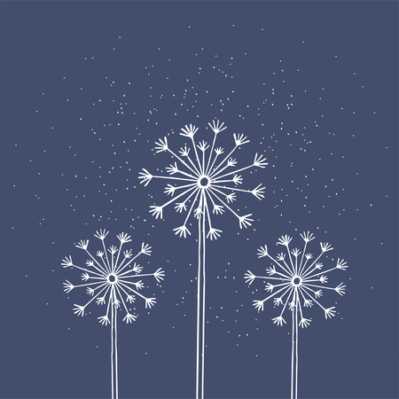 Hand drawn white silhouette three dandelion on a blue background. 版權商用圖片 - 95639426