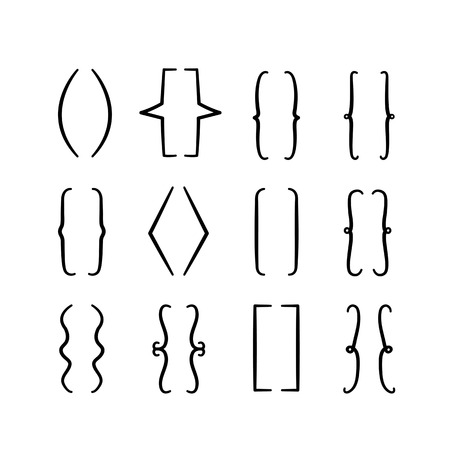 Set of braces or curly brackets icon. Hand drawn elements for your designs Stock Illustratie