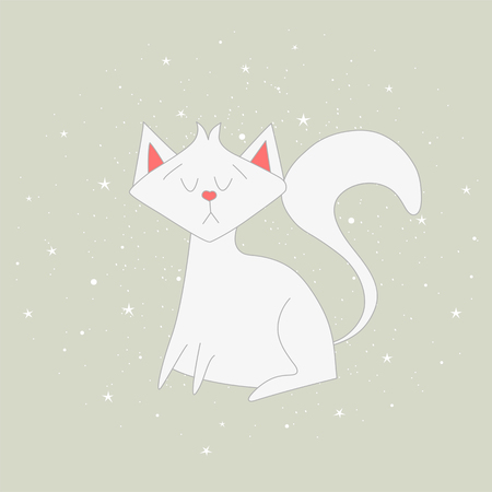 The white cat sits on the grey background