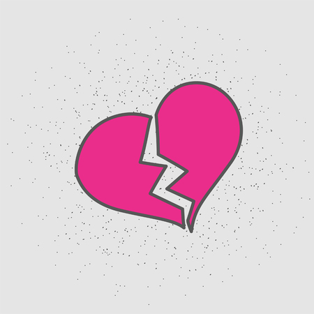 Broken heart Isolated vector illustration in patch style. Hand drawn element for your designs dress, poster, card, t-shirt Illustration