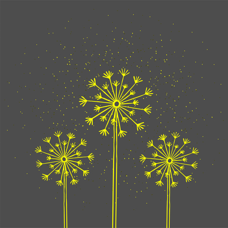 Handrawn white silhouette three dandelion on a dark background. Hand drawn elements for your designs dress, poster, card, t-shirt.