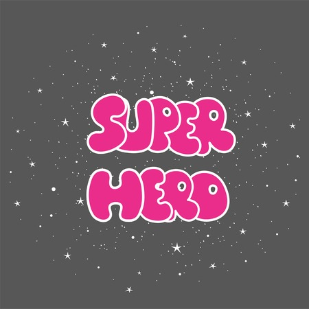 Superhero powerful typography, t-shirt graphic, vector.