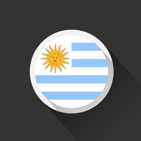 Uruguay national flag on dark background. Vector illustration.  イラスト・ベクター素材