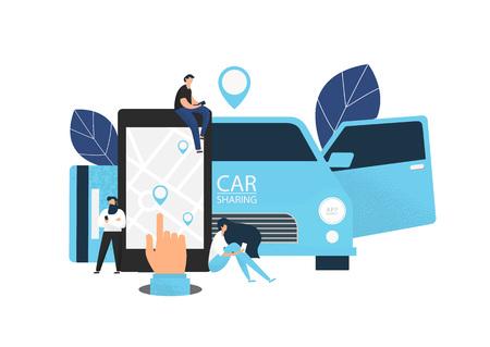 Car sharing concept banner. Flat style vector illustration. Reklamní fotografie