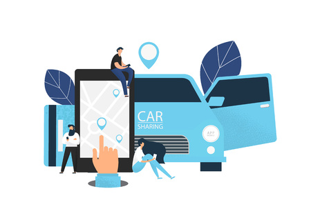 Car sharing concept banner. Flat style vector illustration. Stock Photo