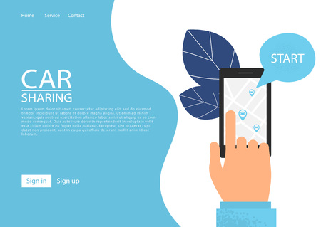 Car sharing service concept. Carsharing renting car mobile app. Hand holding smartphone with share app illustration.