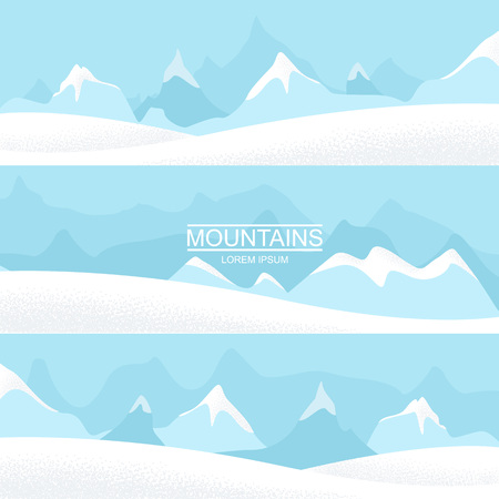 Set of three landscape banners with silhouettes of cold distant mountains. Mountain landscapes. Vector flat illustrations.