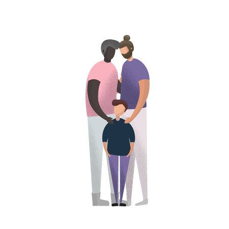 Vector illustration caucasian and african american Gay Couple and adoption son.  イラスト・ベクター素材