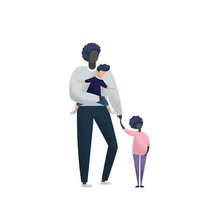 Single father with daughter and adopted son on arms. Flat vector illustration.