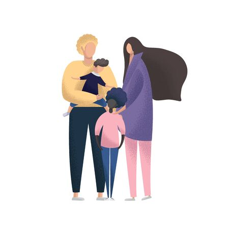 Happy young couple with foster children. Multiracial family. Adoption vector illustration.  イラスト・ベクター素材
