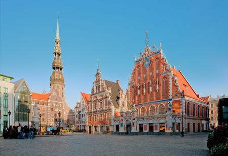 latvia: Old town square in the center of Riga, Latvia