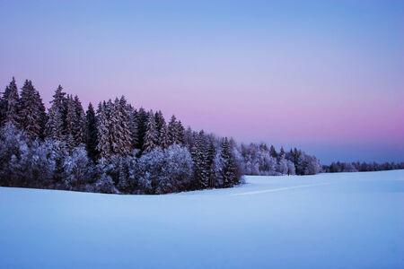 the sky clear: Nordic crepúsculo de invierno