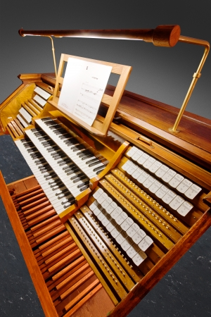 Vintage organ keyboard isolated with clipping path