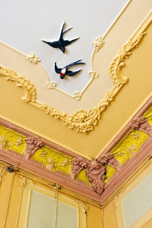 Decorative ceiling detail. Swallows Stock Photo