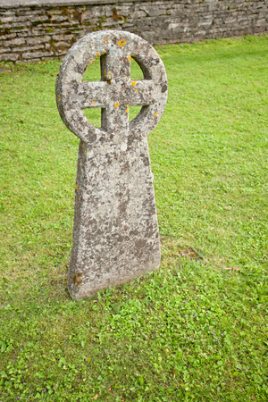Ancient nordic people's sun cross in a cemetery