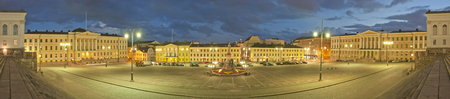Senate Square in Helsinki at night. Stitched Panorama