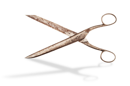 Vintage scissors isolated on white with shadow. Clipping path included to remove shadow or replace. Stock Photo