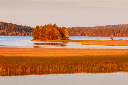Lapland landscape with lakes in autumn