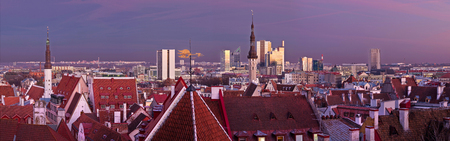 highriser: Tallinn panorama with red roofs and church towers of old town and modern highrisers