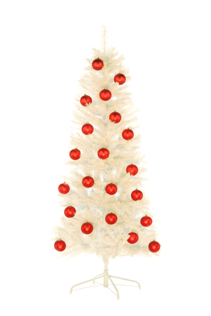 Sparkling white artificial Christmas tree with red balls isolated on white