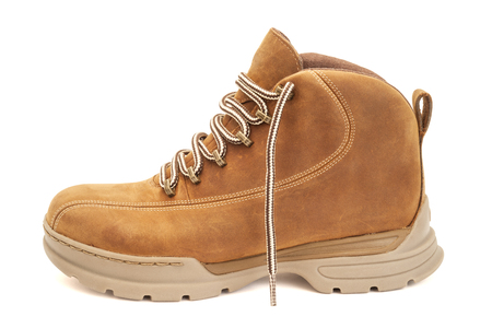 Brown hiking boot isolated on white with clipping path Stock Photo