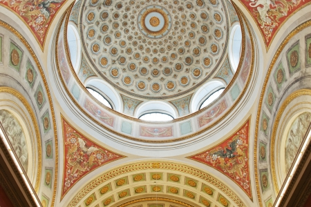 The interior of the dome ceiling of Helsinki University Library.