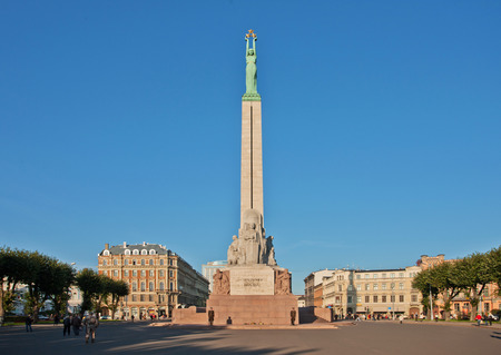 Freedom monument in a daylight, Riga