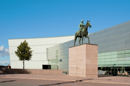 Statue of Mannerheim in front of Kiasma, Helsinkis museum of modern art.
