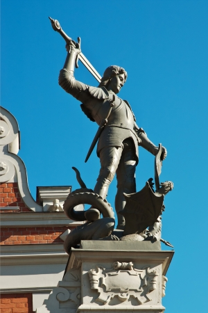 Statue of Saint George on the facade of  House of Blackheads, Riga Stock Photo
