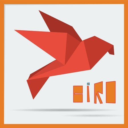 origami bird: red origami bird Illustration