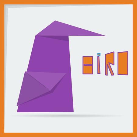 origami bird: purple origami bird Illustration