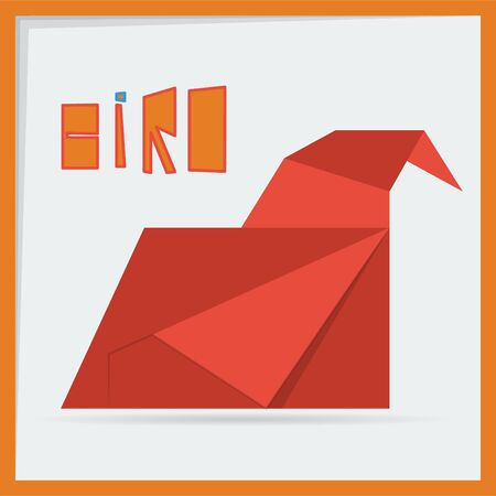 origami bird: red origami bird Illustration