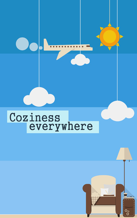 comfortable: Poster about comfortable travel with chair and a lamp Illustration