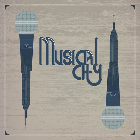 spire: Musical city template with 2 microphones on the wooden background Illustration